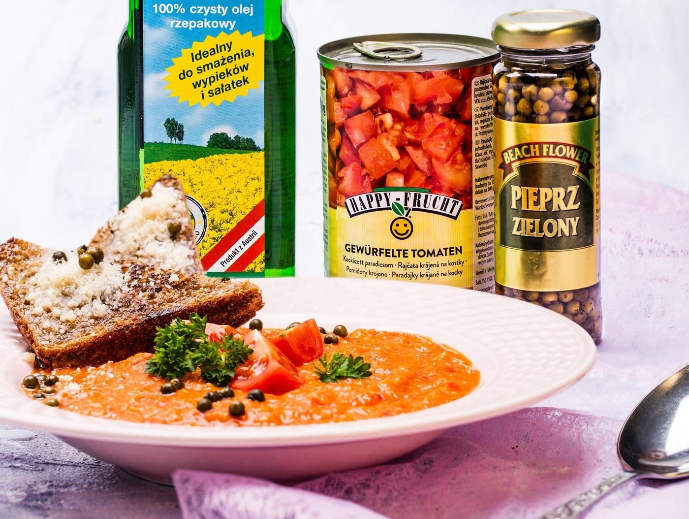 Wykonanie zupy krem paprykowo-pomidorowej
